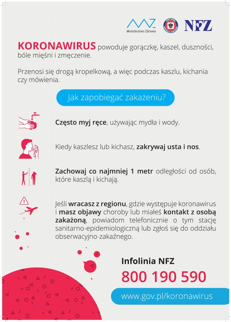 Plakat - Koronawirus Jak zapobiegać zakażeniu